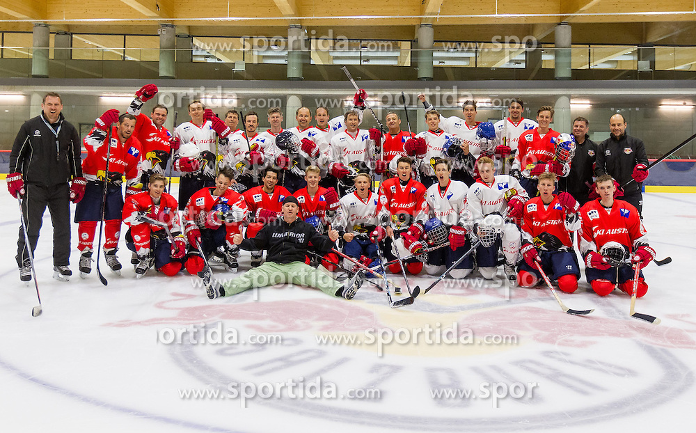 23.04.2015, Red Bull Akademie, Salzburg, AUT, OeSV, Skisprung, Eishockey Kurs, im Bild Gruppenfoto // during a Icehockey Training of Austria Skijumping Team at the Red Bull Academy, Salzburg, Austria on 2015/04/23. EXPA Pictures © 2015, PhotoCredit: EXPA/ JFK