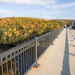 The French King Bridge spans the Connecticut River in Erving, Massachusetts.  Route 2 - Mohawk Highway. Fall.