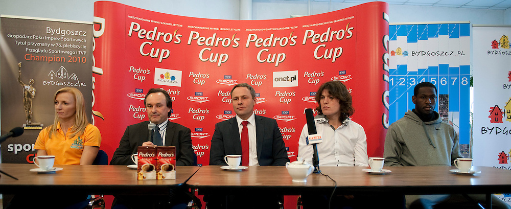 (L-R) ANNA ROGOWSKA (POLAND) & JACEK KAZIMIERSKI (STRAUSS CAFE) & RAFAL BURSKI (PRESIDENT OF BYDGOSZCZ) & IVAN UKHOV (RUSSIA) & DONALD THOMAS (BAHAMA) DURING PRESS CONFERENCE PEDRO'S CUP 2011 IN LUCZNICZKA HALL IN BYDGOSZCZ...POLAND , BYDGOSZCZ , FEBRUARY 15, 2011..( PHOTO BY ADAM NURKIEWICZ / MEDIASPORT )..PICTURE ALSO AVAIBLE IN RAW OR TIFF FORMAT ON SPECIAL REQUEST.