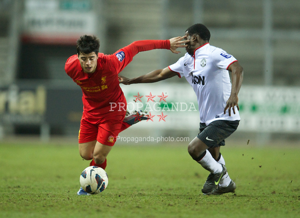 ST HELENS, ENGLAND - Monday, February 25, 2013: Liverpool's Joao Carlos Teixeira in action against Manchester United during the Premier League Academy match at Langtree Park. (Pic by David Rawcliffe/Propaganda)