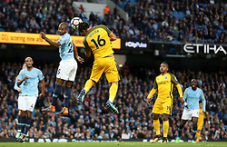 Brighton & Hove Albion's Leonardo Ulloa scores his side's first goal of the game during the Premier League match at the Etihad Stadium, Manchester.