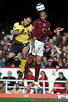 Photo: Ed Godden.<br />Arsenal v Aston Villa. The Barclays Premiership. 01/04/2006. Gavin McCann (Villa) and Thierry Henry (R).