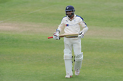 Dejection for Yorkshire's Adil Rashid after being dismissed for 99. Photo mandatory by-line: Harry Trump/JMP - Mobile: 07966 386802 - 27/05/15 - SPORT - CRICKET - LVCC County Championship - Division 1 - Day 4 - Somerset v Yorkshire - The County Ground, Taunton, England.