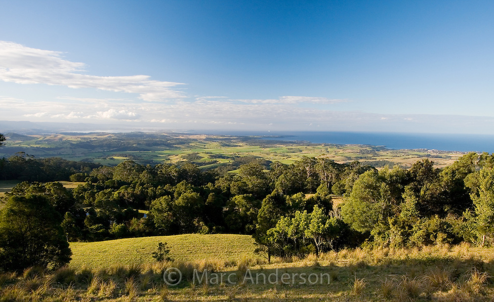 View over green countryside and coastline near Kiama, NSW, Australia