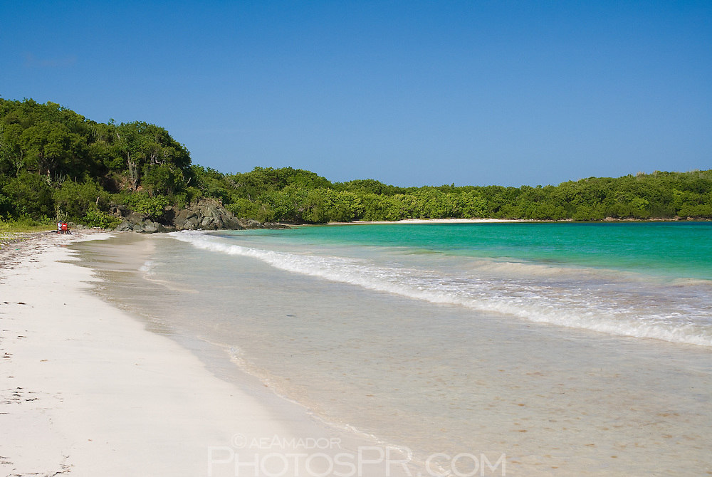 One of many secluded, white sandy beaches