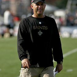 August 1, 2010; Metairie, LA, USA; New Orleans Saints head coach Sean Payton walks off the field following a training camp practice at the New Orleans Saints practice facility. Mandatory Credit: Derick E. Hingle