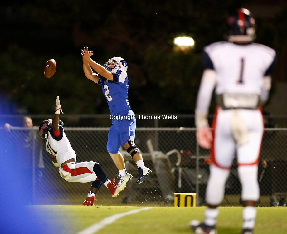 Thomas Wells | Buy at PHOTOS.DJOURNAL.COM<br /> Saltillo's Reese Trotter can't come down with a Kane Wilbanks pass in the first half Friday.