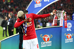 Paul Pogba of Manchester United dabs with the EFL Trophy  - Mandatory by-line: Matt McNulty/JMP - 26/02/2017 - FOOTBALL - Wembley Stadium - London, England - Manchester United v Southampton - EFL Cup Final