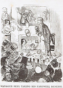 Robert Peel (1788-1850), Prime Minister, taking his final curtain call. His Repeal of Corn Laws passed on 25 June but same night was defeated on his Irish bill. Resigned 29 June.  Figure struggling with policeman (a Peeler) at bottom left is Disraeli. Cartoon from 'Punch', London, 1846.