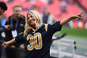 Singer/Songwriter Mollie King during the International Series match between Los Angeles Rams and Cincinnati Bengals at Wembley Stadium, London, England on 27 October 2019.