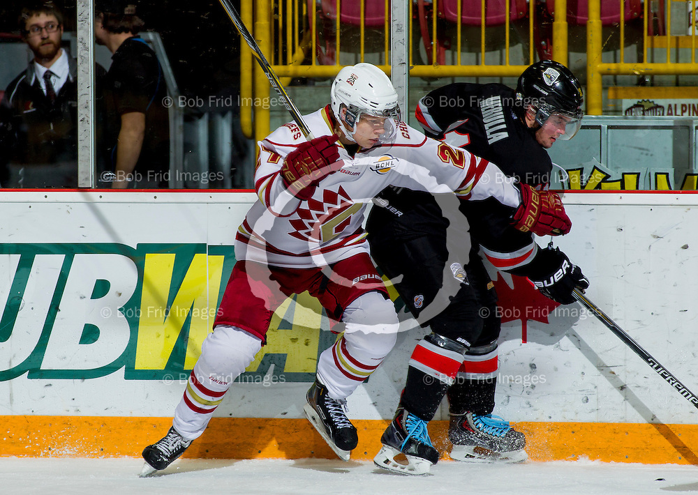 22 November 2014:  Dennis Cholowski (27) of the Chiefs  during a game between the Chilliwack Chiefs and the Coquitlam Express at Prospera Centre, Chilliwack, BC.    ****(Photo by Bob Frid - All Rights Reserved 2014): mobile: 778-834-2455 : email: bob.frid@shaw.ca ****