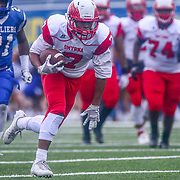 Smyrna Eagles wide receiver STEPHEN WHALEY (7) catches the ball enroute to the end zone for a touchdown in the third quarter of the 2017 DIAA Division I state championship game between the Smyrna Eagles and Middletown Cavaliers Saturday, Dec. 02, 2017 at Delaware Stadium in Newark, DE.