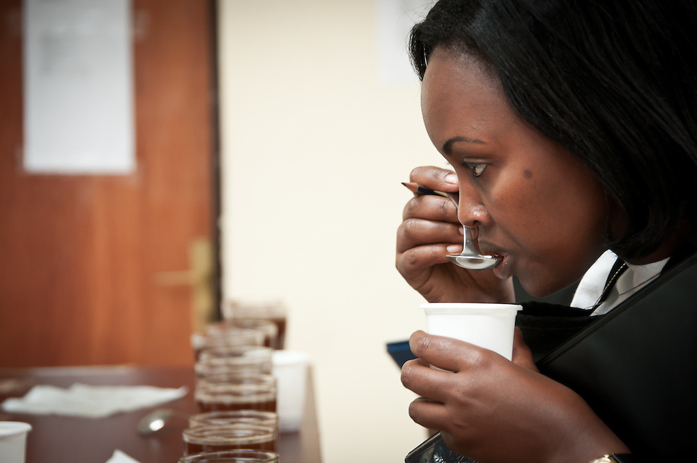 Regina Muganga, a Rwandan cupper, cups during one of the final sessions of the day. Trained at Rwanda's National Agriculture Export Board, she has been cupping for 3 years. Kayonza, Rwanda.