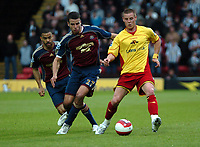 Photo: Tony Oudot.<br /> Watford v Newcastle United. The Barclays Premiership. 13/05/2007.<br /> Will Hoskins of Watford shields the ball from Steven Taylor and Kieron Dyer of Newcastle