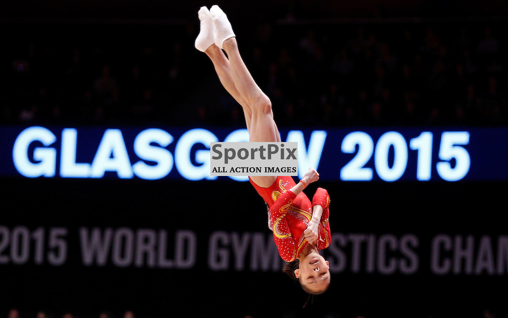 2015 Artistic Gymnastics World Championships being held in Glasgow from 23rd October to 1st November 2015...Chungsong Shang (Peoples Republic of China) competing in the Floor Exercise competition of the Women's Team Final...(c) STEPHEN LAWSON | SportPix.org.uk
