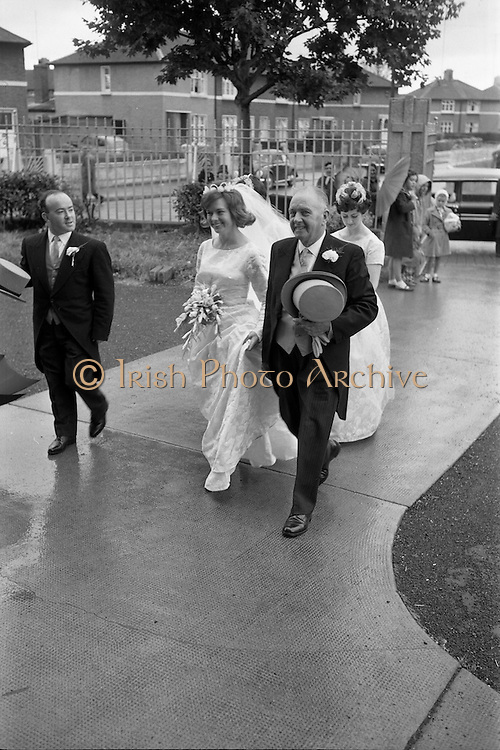 22/08/1963<br /> 08/22/1963<br /> 22 August 1963<br /> Wedding of Frank McKevitt and Frances Emmett. Mr. Frank McKevitt, 32 Celtic Park Avenue, Drumcondra, Dublin, a prominent member of the Rathmines and rather Musical Society, and a Personnel Executive at Telef&iacute;s &Eacute;ireann was married to Miss Frances Emmett, 2. Great Western Square, Phibsboro, Dublin, at Christ the King Church, Cabra, Dublin, with reception at the Claremont Hotel, Howth.