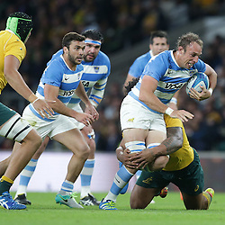 Leonardo Senatore of Argentina is tackled during the The Rugby Championship match between Argentina and Australia at Twickenham Stadium, Twickenham - 08/10/2016<br />