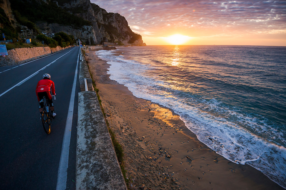 James Brickell, dawn ride, Liguria, Italy.