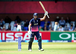 Natalie Sciver of England Women celebrates reaching 50 against New Zealand Women - Mandatory by-line: Robbie Stephenson/JMP - 12/07/2017 - CRICKET - The County Ground Derby - Derby, United Kingdom - England v New Zealand - ICC Women's World Cup match 21