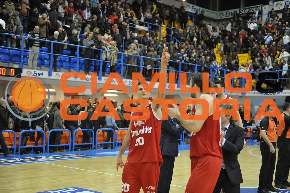 DESCRIZIONE : Brindisi Lega A 2012-13 Enel Brindisi Trenkwalder Reggio Emilia<br /> GIOCATORE : Cinciarini Andrea<br /> CATEGORIA : Esultanza<br /> SQUADRA : Trenkwalder Reggio Emilia<br /> EVENTO : Campionato Lega A 2012-2013 <br /> GARA : Enel Brindisi Trenkwalder Reggio Emilia<br /> DATA : 01/04/2013<br /> SPORT : Pallacanestro <br /> AUTORE : Agenzia Ciamillo-Castoria/V.Tasco<br /> Galleria : Lega Basket A 2012-2013  <br /> Fotonotizia : Brindisi Lega A 2012-13 Enel Brindisi Trenkwalder Reggio Emilia