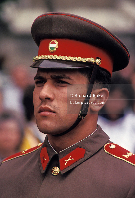 A soldier with the Hungarian army on ceremonial duties in central Budapest, on 18th June 1990, in Budapest, Hungary.