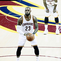 07 June 2017: Cleveland Cavaliers forward LeBron James (23) is seen at the free throw line during the Golden State Warriors 118-113 victory over the Cleveland Cavaliers, in game 3 of the 2017 NBA Finals, at  the Quicken Loans Arena, Cleveland, Ohio, USA.