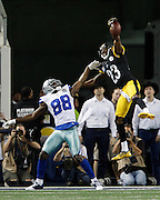 Pittsburgh Steelers cornerback Keenan Lewis (23) gets his hand on a pass intended for Dallas Cowboys wide receiver Dez Bryant (88) at Cowboys Stadium in Arlington, Texas, on December 16, 2012.  (Stan Olszewski/The Dallas Morning News)