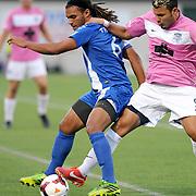 Wilmington's Samuel Ochoa challenges Dayton's Sebastien Thuriere Saturday August 9, 2014 at Legion Stadium in Wilmington, N.C. (Jason A. Frizzelle)