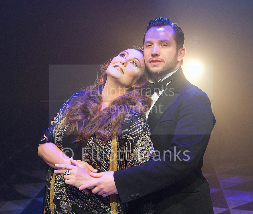 Grand Hotel <br /> produced by Danielle Tarento<br /> Book by Luther Davis<br /> Music and Lyrics by George Forrest and Robert Wright<br /> Additional Music and Lyrics by Maury Yeston<br /> at Southwark Playhouse, London, Great Britain <br /> press photocall <br /> 4th August 2015 <br /> <br /> <br /> Christine Grimandi as Elizaveta Grushinskaya <br /> <br /> Scott Garnham as Baron Felix von Gaigern <br /> <br /> <br /> <br /> <br /> Photograph by Elliott Franks <br /> Image licensed to Elliott Franks Photography Services