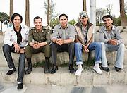 Iranian Men sitting near Allahverdi Khan Bridge, Isfahan, Iran