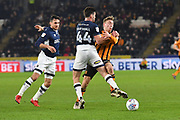 Millwall FC player Ben Marshall (44) brings down Hull City forward Jarrod Bowen (20) during the EFL Sky Bet Championship match between Hull City and Millwall at the KCOM Stadium, Kingston upon Hull, England on 6 March 2018. Picture by Ian Lyall.