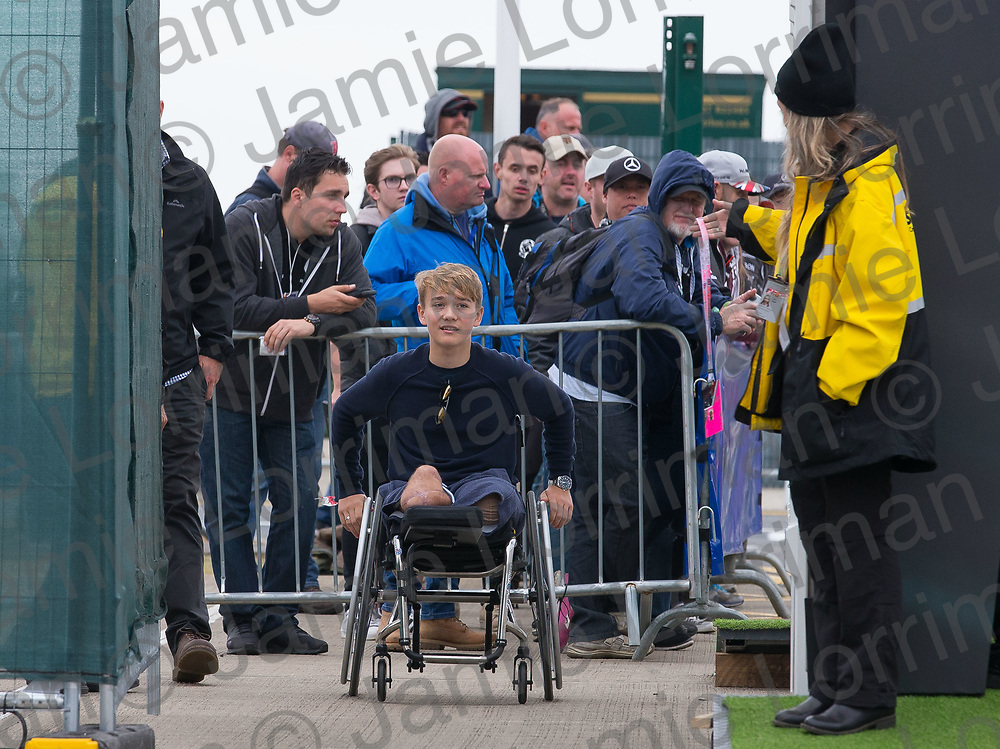 The 2017 Formula 1 Rolex British Grand Prix at Silverstone Circuit, Northamptonshire.<br /> <br /> Pictured: 18-year-old Formula 4 driver Billy Monger who had to have both his legs amputated after a crash arrives at the F1 paddock at Silverstone.<br /> <br /> Jamie Lorriman<br /> mail@jamielorriman.co.uk<br /> www.jamielorriman.co.uk<br /> +44 7718 900288