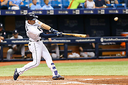May 20, 2017 - St. Petersburg, Florida, U.S. - WILL VRAGOVIC   |   Times.Tampa Bay Rays third baseman Evan Longoria (3) connects for a solo home run in the third inning of the game between the Tampa Bay Rays and the New York Yankees at Tropicana Field in St. Petersburg, Fla. on Saturday, May 20, 2017. (Credit Image: © Will Vragovic/Tampa Bay Times via ZUMA Wire)