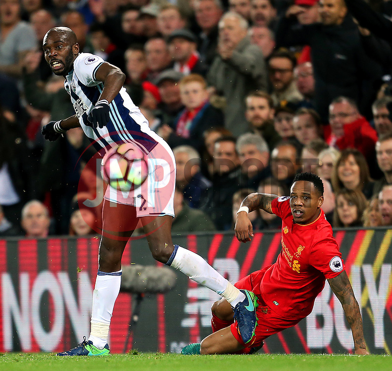 Allan-Romeo Nyom of West Bromwich Albion tackles Nathaniel Clyne of Liverpool  - Mandatory by-line: Matt McNulty/JMP - 22/10/2016 - FOOTBALL - Anfield - Liverpool, England - Liverpool v West Bromwich Albion - Premier League