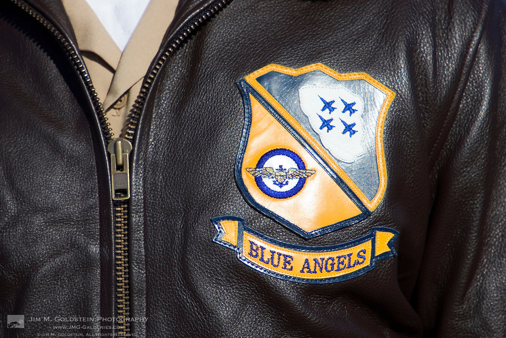 Blue Angels crest on a crew members leather flight jacket, photographed at the 2007 Blue Angels Fleet Week performance in San Francsico