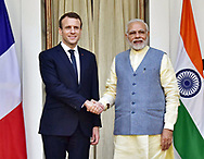10.03.2018; New Delhi, India: PRESIDENT EMMANUEL MACRON WELCOMED BY INDIAN PRIME MINISTER NARENDRA MODI<br /> at Hyderabad House, in New Delhi.<br /> The French President who is on a 3 day visit to India, will be attending the Founding Conference of the International Solar Alliance.<br /> Mandatory Credit Photo: &copy;NEWSPIX INTERNATIONAL<br /> <br /> IMMEDIATE CONFIRMATION OF USAGE REQUIRED:<br /> Newspix International, 31 Chinnery Hill, Bishop's Stortford, ENGLAND CM23 3PS<br /> Tel:+441279 324672  ; Fax: +441279656877<br /> Mobile:  07775681153<br /> e-mail: info@newspixinternational.co.uk<br /> **All Fees Payable To Newspix International**