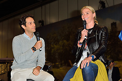 © Licensed to London News Pictures. 18/02/2016.  BRUNO SENNA AND JODIE KIDD talk at the launch of the London Classic Car Show.  The four day event brings together classic car owner, dealers, collectors, experts and enthusiasts. London, UK. Photo credit: Ray Tang/LNP