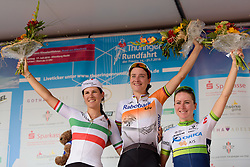 Top three on the stage: Marianne Vos, Elena Cecchini and Annemiek van Vleuten at Thüringen Rundfarht 2016 - Stage 5 a 99km road race starting and finishing in Greiz, Germany on 19th July 2016.