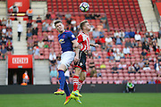 Scott Mctominay of Manchester United U23's  and Jake Hesketh of Southampton U23's battle in air during the Under 23 Premier League 2 match between Southampton and Manchester United at St Mary's Stadium, Southampton, England on 22 August 2016. Photo by Phil Duncan.