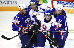 Damjan Dervaric, Radovan Somik,  Andrej Podkonicky of Slovakia and Mitja Robar of Slovenia at ice-hockey game Slovenia vs Slovakia at Relegation  Round (group G) of IIHF WC 2008 in Halifax, on May 09, 2008 in Metro Center, Halifax, Nova Scotia, Canada. Slovakia won 5:1. (Photo by Vid Ponikvar / Sportal Images)