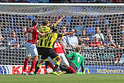 Aaron Martin scores an own-goal during the Sky Bet League 1 match between Burton Albion and Coventry City at the Pirelli Stadium, Burton upon Trent, England on 6 September 2015. Photo by Aaron Lupton.