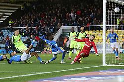 Mohamed Eisa of Peterborough United watches a shot hit the crossbar - Mandatory by-line: Joe Dent/JMP - 14/12/2019 - FOOTBALL - Weston Homes Stadium - Peterborough, England - Peterborough United v Bolton Wanderers - Sky Bet League One