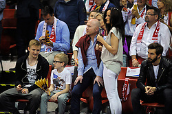 31.05.2014, Audi Dome, Muenchen, GER, Beko Basketball BL, FC Bayern Muenchen Basketball vs EWE Baskets Oldenburg, Halbfinale, im Bild Matthias Sammer, FC Bayern und Ehefrau, Mitte, // during the Beko Basketball Bundes league semifinal match between FC Bayern Munich Basketball and EWE Baskets Oldenburg at the Audi Dome in Muenchen, Germany on 2014/05/31. EXPA Pictures © 2014, PhotoCredit: EXPA/ Eibner-Pressefoto/ Buthmann<br /> <br /> *****ATTENTION - OUT of GER*****