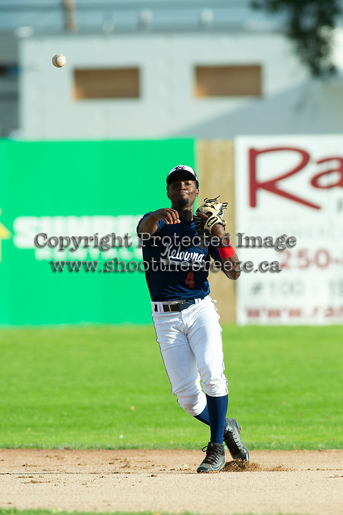 KELOWNA, BC - JULY 16: Richi Sede #4 of the Kelowna Falcons throws from second base against the the Wenatchee Applesox  at Elks Stadium on July 16, 2019 in Kelowna, Canada. (Photo by Marissa Baecker/Shoot the Breeze)