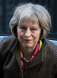 © Licensed to London News Pictures. 23/02/2016. London, UK. Home secretary THERESA MAY arrives at number 10 Downing Street in Westminster, London for cabinet meeting. Photo credit: Ben Cawthra/LNP