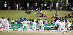 July 22, 2018 - Colombo, Sri Lanka - South African cricketer Temba Bavuma (4L, wearing a helmet) plays a shot as an  Sri Lankan close-in fielders look on during the 3rd day's play in the 2nd test cricket match between Sri Lanka and South Africa at SSC International Cricket ground, Colombo, Sri Lanka on Sunday  22 July 2018  (Credit Image: © Tharaka Basnayaka/NurPhoto via ZUMA Press)