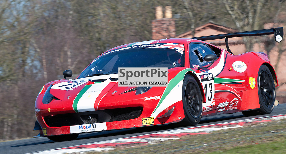 AF Corse, John Dhillon & Aaron Scott, Ferrari 458 Italia GT3, GT3 during qualifying and practice at the first round of the Avon Tyres British GT Championship held at Oulton Park, Cheshire, UK on the 30th March 2013 WAYNE NEAL | STOCKPIX.EU