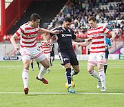 Dundee&rsquo;s Kane Hemmings tkae son Hamilton&rsquo;s Lucas Tagliapietra and Mikey Devlin - Hamilton v Dundee, Ladbrokes Scottish Premiership at New Douglas Park<br />  <br />  - &copy; David Young - www.davidyoungphoto.co.uk - email: davidyoungphoto@gmail.com