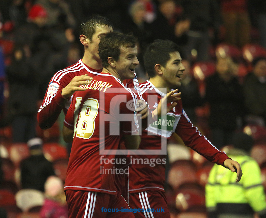 Picture by Paul Gaythorpe/Focus Images Ltd +447771 871632.26/01/2013.Middlesbrough players celebrate the first goal scored by Lukas Jutkiewicz against Aldershot Town during the FA Cup match at the Riverside Stadium, Middlesbrough.