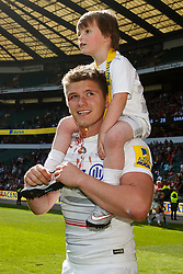 Saracens Fly-Half Owen Farrell celebrates with his younger brother after Saracens win the Aviva Premiership Trophy - Photo mandatory by-line: Rogan Thomson/JMP - 07966 386802 - 30/05/2015 - SPORT - RUGBY UNION - London, England - Twickenham Stadium - Bath Rugby v Saracens - 2015 Aviva Premiership Final.